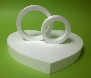Herz 1 Stück Weiß 34 X 28,5 Höhe 5 Cm 2 Ringe Hochzeit Rund Deko Wand Styropor Backformen & Tortenringe