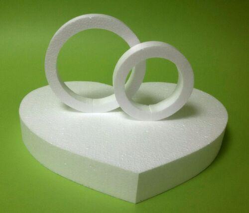 Herz 34 x 28,5 Höhe 8 cm 2 Ringe weiß Hochzeit Rund Deko Wand Blumen Styropor