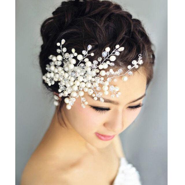 Women Delicate Crystal Pearl&Rhinestone Headpiece Bridal Wedding Party Hair Comb