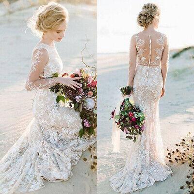 Modest Full Lace Boho Mermaid Wedding Dresses Beach Bridal Gowns