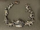 """Vintage 925 Sterling Silver Bible Noah's Ark Flood Animal  Bracelet 7"""""""