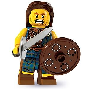 Lego Minifigure -  SERIES 6 - HIGHLAND BATTLER -  lego mini figure, with base