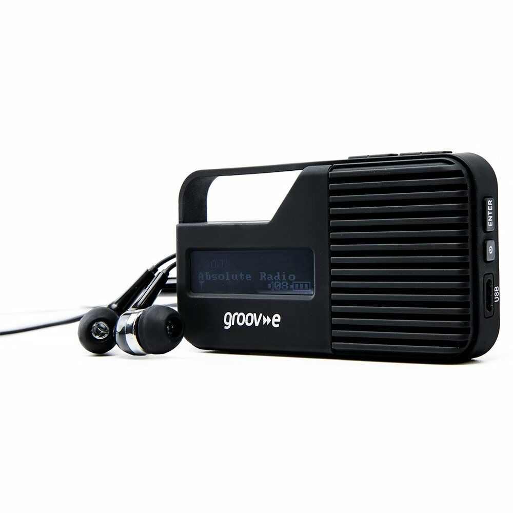 Groov-e GVDR01BK 3.5mm Headphone Socket Rio Personal DAB/FM Digital Radio -Black