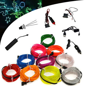 Led Strips The Best 1m Neon Light Dance Party Decor Car Lights Neon Led Lamp Flexible El Wire Rope Tube Waterproof Led Strip With Aaa Battery Box Reputation First Led Lighting
