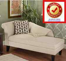 Chaise Lounge W Storage Beige Cotton Upholstery Free Shipping