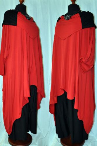 MYO-Lagenlook Long-Bogen-Wellen Tunika Jersey schwarz-rot XXL,XXXL,4XL,5XL