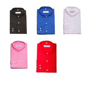 Mens-Premium-Formal-Plain-Collarless-Grandad-Collar-Shirts-Regular-Fit-Small-4XL