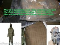 Nbc Suit Fits M To L Nuclear Biological Chemical Ebola Hazmat Boots Gloves Mask