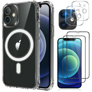 For iPhone 12/12 Pro Magnetic Clear Case+Tempered Glass+Camera Lens Protector