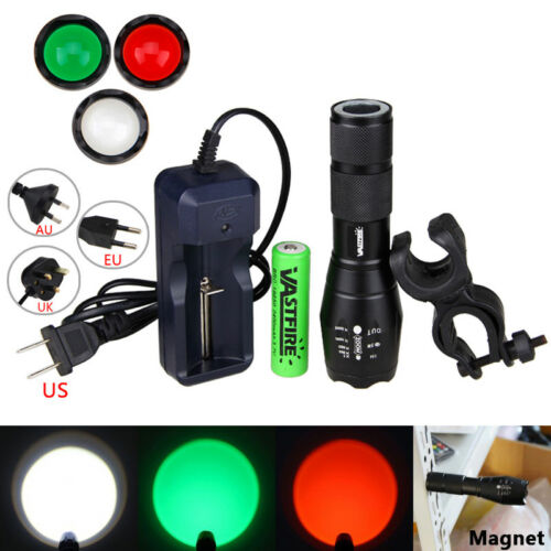 Zoomable Focus Hunt Flashlight Hunting Torch White Green Red LED Lamp Chargeable