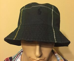 Polo Ralph Lauren Tartan Oil Cloth Black Watch Pony bucket hat large ... 7230453498a