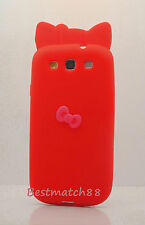 FOR SAMSUNG GALAXY S3 cute hello kitty kitten RED PINK 3D BOW SOFT SILICON CASE
