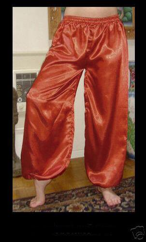Harem Pants Belly Dance Satin Copper Brownish Orange