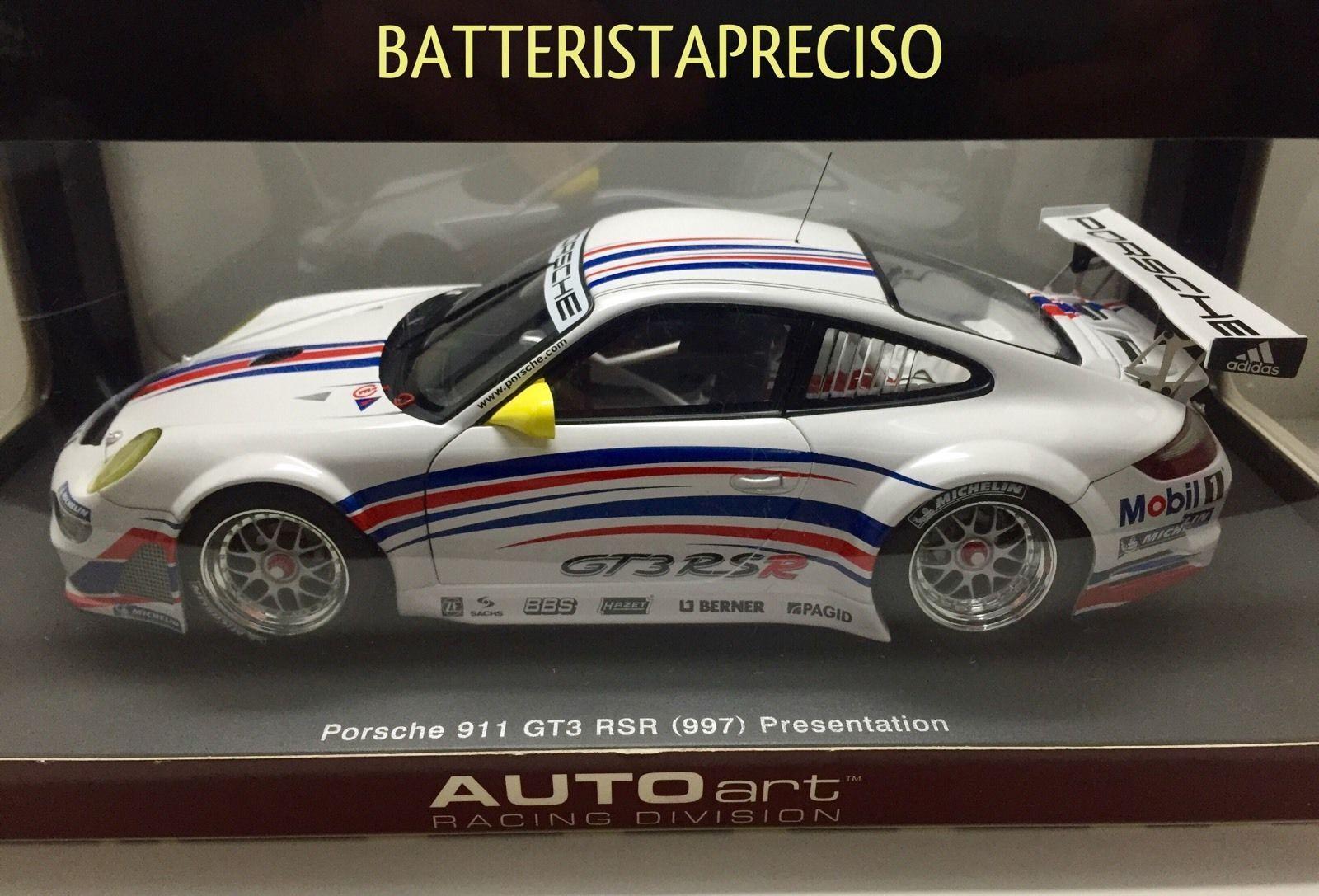 1 18 Autoart Porsche 911 gt3 rsr (997) 80770 presentation-rareza