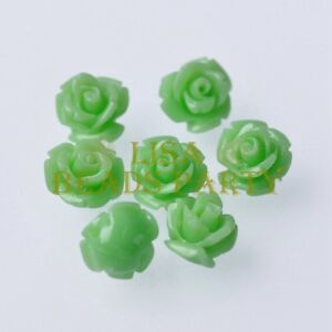 Hot-20pcs-10mm-Rose-Flower-Synthetic-Coral-Charms-Loose-Spacer-Beads-Light-Green