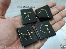Black Jasper Arch Angel Symbol Engraved A+ Healing Sets Chakra Balancing Pouch