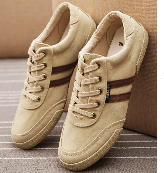 Fashion Men's canvas Lace Up low top  loafer rubber sole  Casual sneaker  shoes