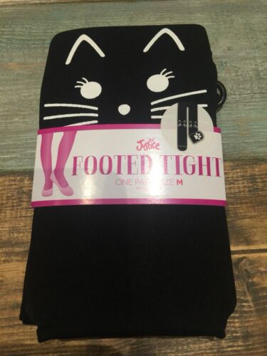 Nwt Justice Black Cat Lovers Trendy  Tights Size M Halloween