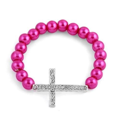 1PC imitaion Perle Perles Bracelet Avec Ton Argent Strass Croix Charm