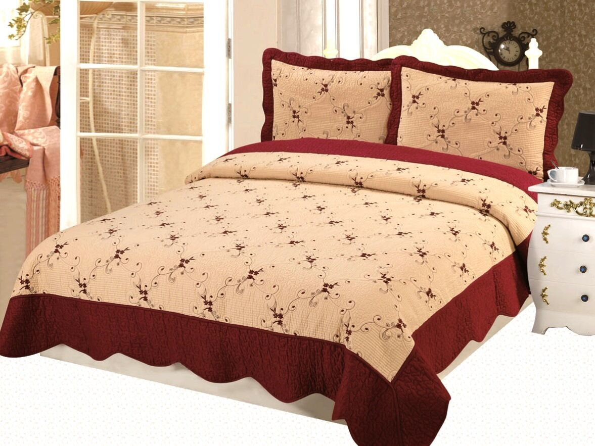 Embroidery Premium Natural Cotton Quilt Set 3 Pcs