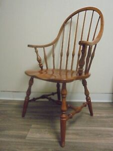 Ethan Allen Nutmeg Heirloom Bowback Dining Chair ArmChair ...