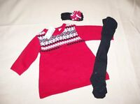 Girls Childrens Place Nordic Sweater Dress Sz 3/6 Mo Tights & Hairband W/bow