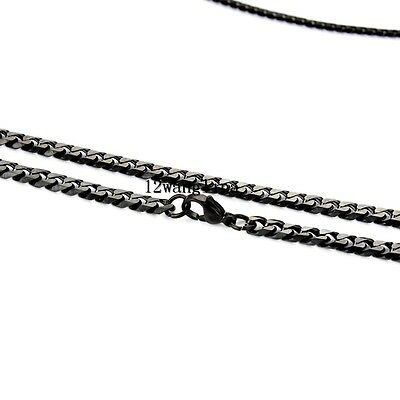 5mm Mens Chain Boys Curb Link Silver Gold Black Stainless Steel Necklace 18-36''