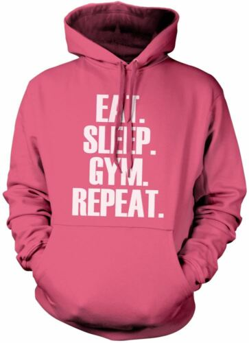 Eat Sleep Gym Repeat Unisex Hoody Work Out Fitness Various Colours Hoodie