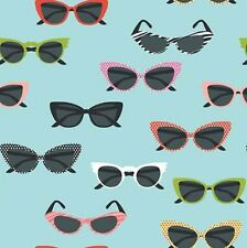 Riley Blake GLASSES Fabric - Aqua - Novelty 50s Sunglasses