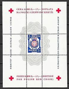 Poland stamps 1945 Dachau 3MK RED CROSS Sheet UNG VF