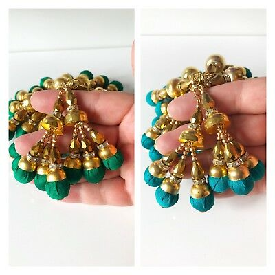 1 pair of Latest Indian Zircon Gold Bead Tassel Gota Latkan Sari Blouse  Duppata