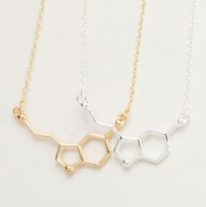 61fe191a16a28 Details about SEROTONIN MOLECULE PENDANT NECKLACE SCIENCE CHEMISTRY GOLD OR  SILVER & GIFT BAG