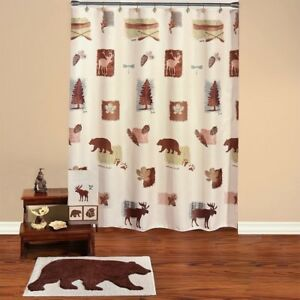 Image Is Loading Natures Trail Bathroom Bear Moose Cabin Lodge Shower