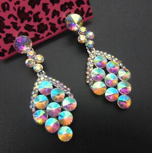 Women-039-s-AB-Crystal-Rhinestone-Grapes-Betsey-Johnson-Stud-Drop-Earrings