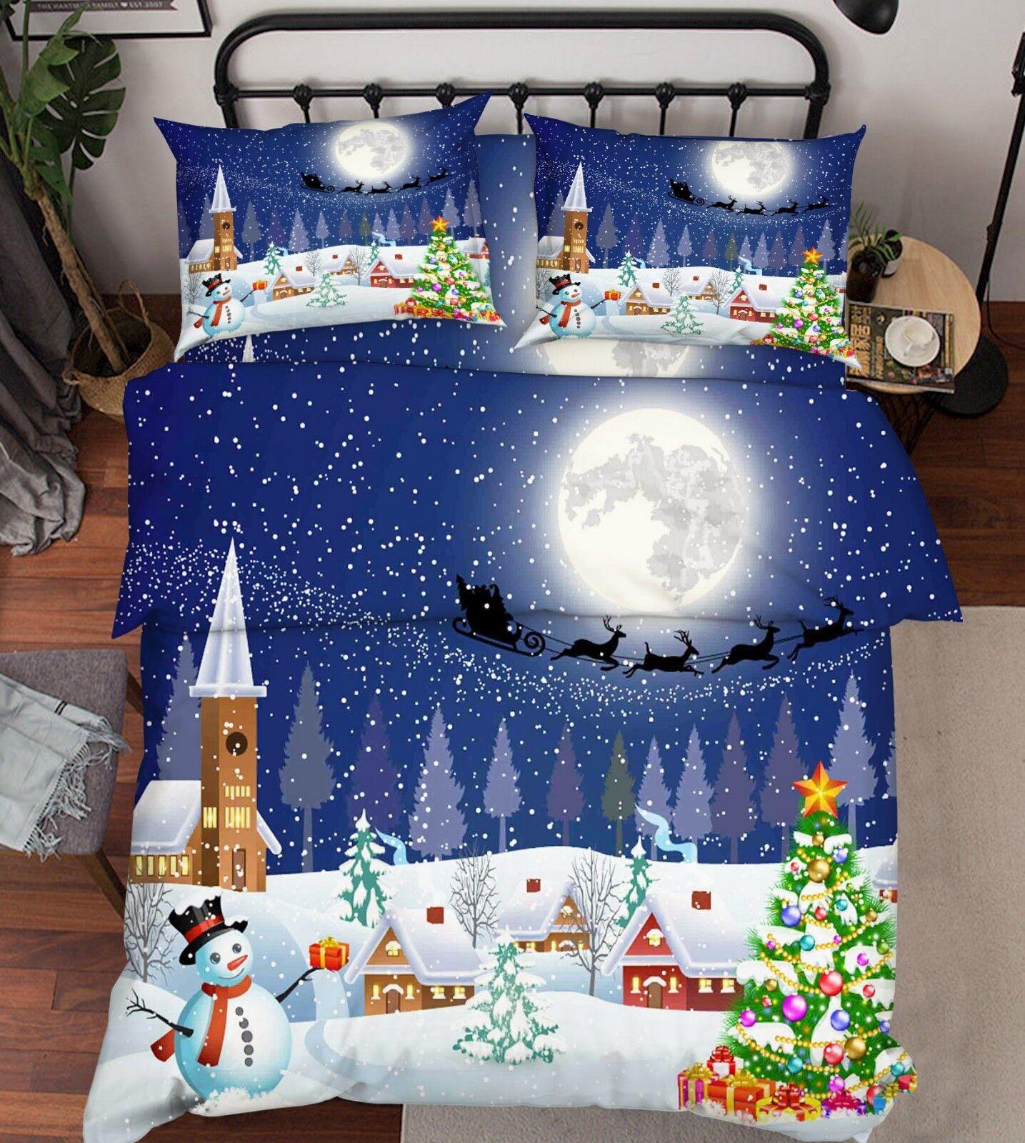 3D Snow House Moon 66 Bed Pillowcases Quilt Duvet Cover Set Single King UK Lemon