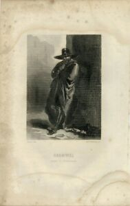 Antique-Rare-Original-Engraving-Print-Cromwell-1840-engraved-by-Mm-Mathieu