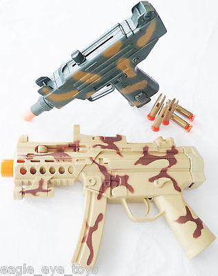 2x Toy Machine Guns! Spec Forces Tan MP5 w/ Sound FX & Toy UZI Dart Gun Set