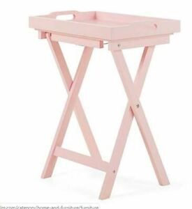 Luxury-Pinewood-Butlers-Wooden-Movable-Table-Pink-Serving-Tray-Drinks-Dinner