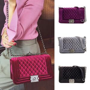 Women Celeb Chain Shoulder Strap Bag Purse Quilted Velvet Handbag ... 2bddad57535cf