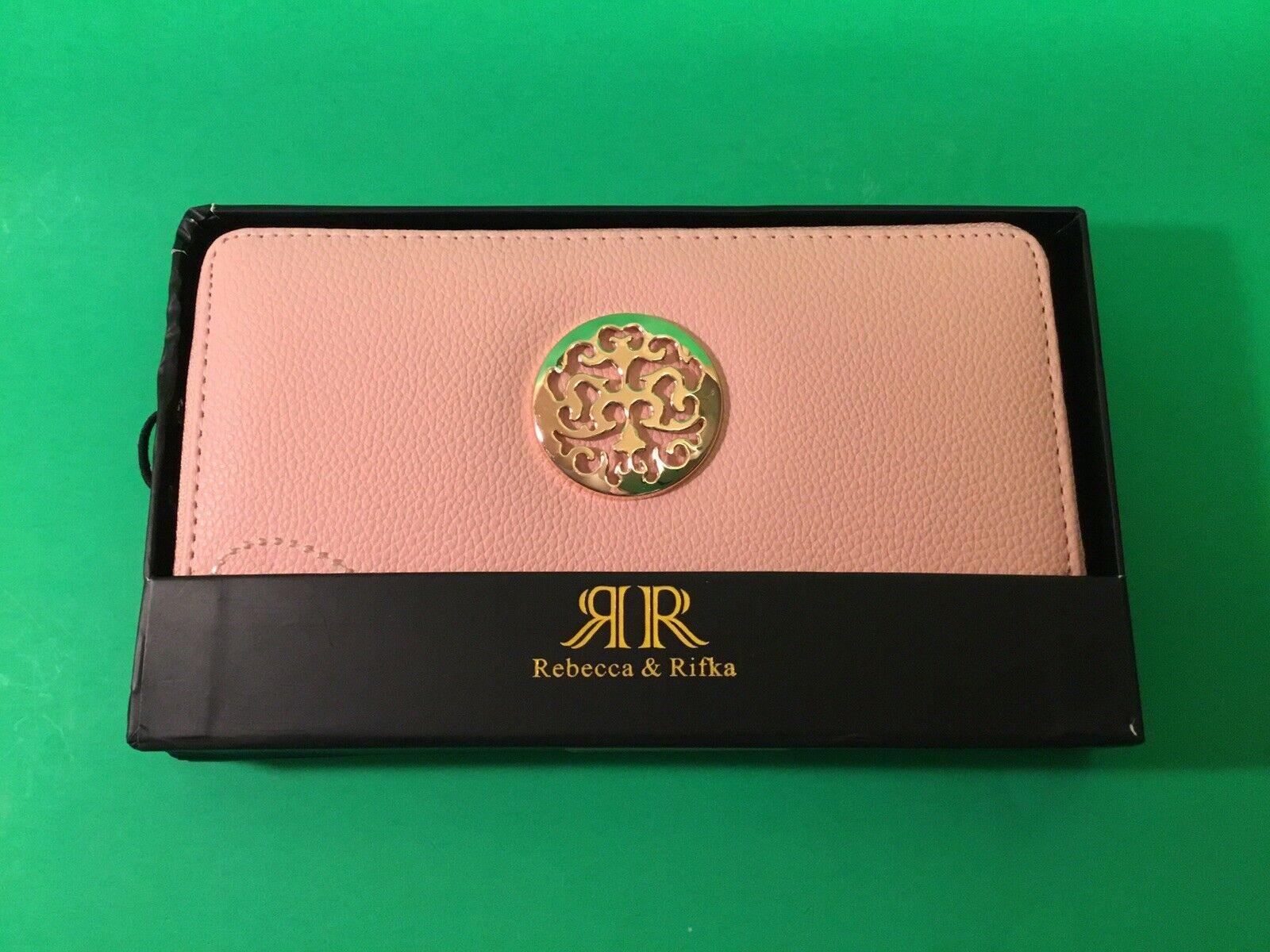 New REBECCA & RIFKA Woman's Wallet Pink w/Gold