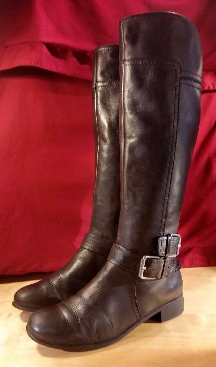 NINE WEST VINT. AMER. WOMEN VASHIZA KNEE-HIGH RIDING BLK LEATHER BOOTS SZ 5.5M