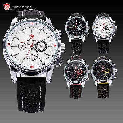 Pacific Angel Shark Men's Sport Date Day Black Leather Quartz Luxury Wrist Watch