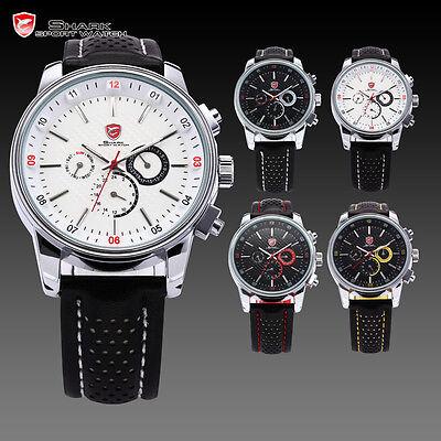 Pacific Angel Shark Men's Sport Date Day Black Leather Quartz Luxury Wrist Watch