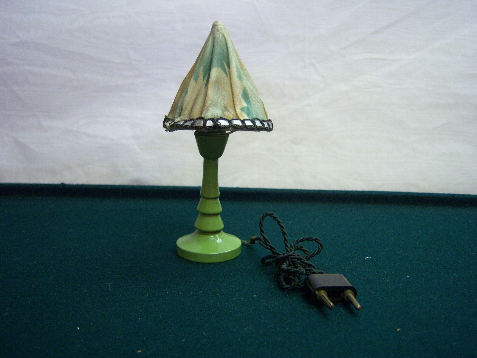 Dollhouse Miniature Painted Wood Electric Table Lamp Antique Furniture Germany