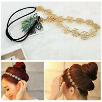 Pretty Metallic Lady Hollow Rose Flower Elastic Hair Band Headband for Lady