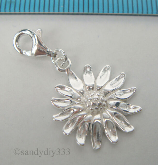 10 pcs x STERLING SILVER SUNFLOWER PENDANT EUROPEAN LOBSTER CLIP ON CHARM #2207H