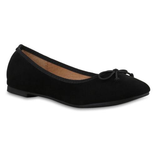 892933 Klassische Damen Ballerinas Leder-Optik Basic Freizeit Schuhe