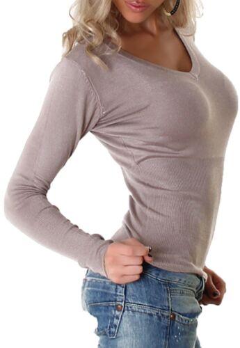 Donna Pullover Maglione V-Scollatura Felpa Sweater 32 34 36 38 SM