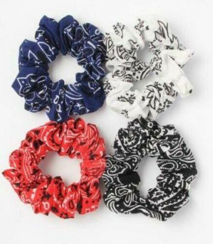 Donna Ragazze Grande Tessuto Paisley Scrunchie Accessorio Per Capelli Bianco Rosso Blu