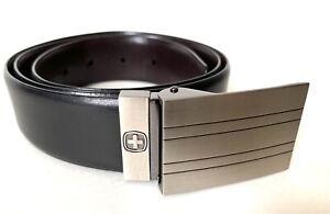 SWISS-GEAR-Reversible-Black-Brown-Leather-Belt-Rectangle-Striped-Buckle-34-M